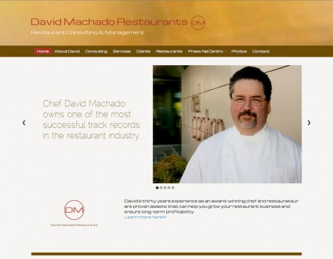David Machado Restaurants, WordPress website, Gray Sky Studio