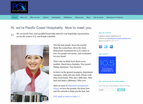 Pacific Coast Hospitality | website by Gray Sky Studio